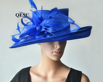 Cobalt blue hat large dress church sinamay hat fascinator with feather flower,for Kentucky derby,wedding party races church