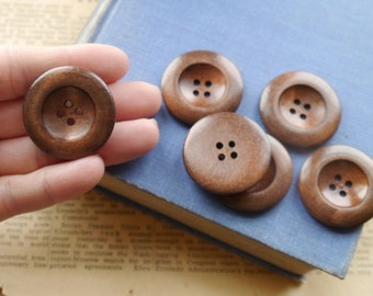 """8 pcs Dark Brown Wood Buttons 35mm 4 Hole (1 3/8"""") (WB2325)"""