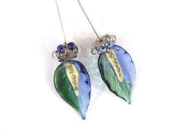 sra artisan lampwork glass leaf headpins set flameworked pattylakinsmith patty Lakinsmith matched pairs blue green handmade