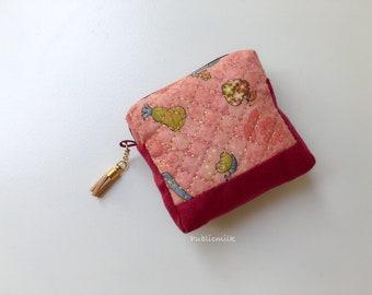 Petits accessoires pochette-marron avec paillettes d'or, porte monnaie, pochette, sac à main tissu