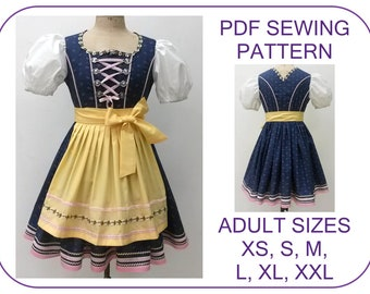 Adult Dirndl dress pattern Sizes xs-xxl dirndl dress and apron Oktoberfest costume pattern Bavarian peasant folk dress pattern Dirndl dress