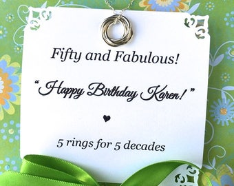 50th BIRTHDAY Gift for Women FIFTY  50th Birthday Necklace POEM Sterling Silver 5 Rings for 5 Decades Happy Birthday Sister Friend Connected