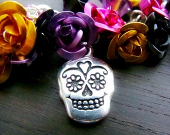 Day of the dead Dia de los muertos charm bracelet sugar skull catrina doll flowers bracelet - Day of the Dead