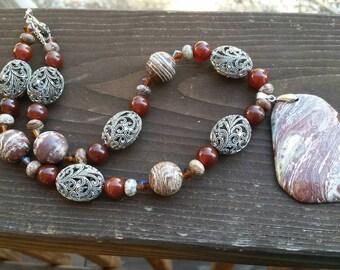 Brown Marbled Gemstone Zebra Jasper Pendant Necklace - Handmade Beaded Gemstone Jewelry - Large Statement Pendant