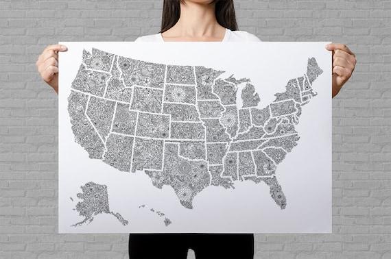 USA-Reise-Karte-Poster US ordnen Sie Farbe uns Reise-Karte