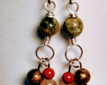 Dangle Earrings Made from Rich Earth Tone Beads, Accents Silver Plated Wire and Ear wires