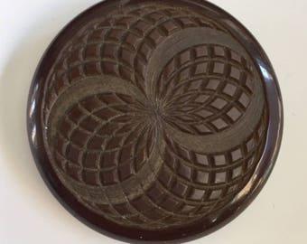 Vintage Plastic Large Button - Dark Brown with Carved Design