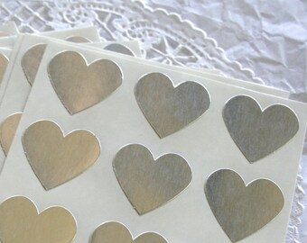 Large METALLIC SILVER Heart Stickers, Sticker Seals, 6 COLORS