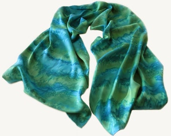 Teal Silk Scarf, Hand Painted Teal Silk Scarf, Hand Painted Grean Silk Scarf, Green Silk Scarf, Green Scarf, Teal Scarf, Free Shipping US