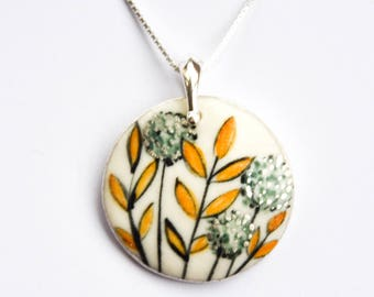 lovely blue and yellow porcelain necklace