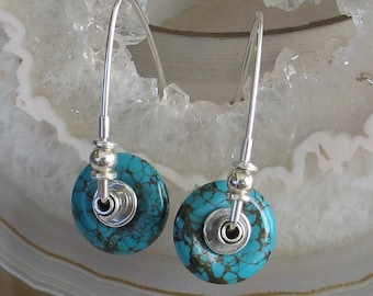 Turquoise and Sterling Hoop