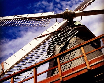 "Windmill perspective looking up 8x8"" photo blue sky Dutch Don Quixote"