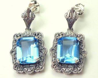 Art Deco,6ct. Blue Topaz Earrings,Sterling Silver Filigree Earrings,Gemstone Earrings,Natural Transparent Blue Stones, Gem Drop Earrings