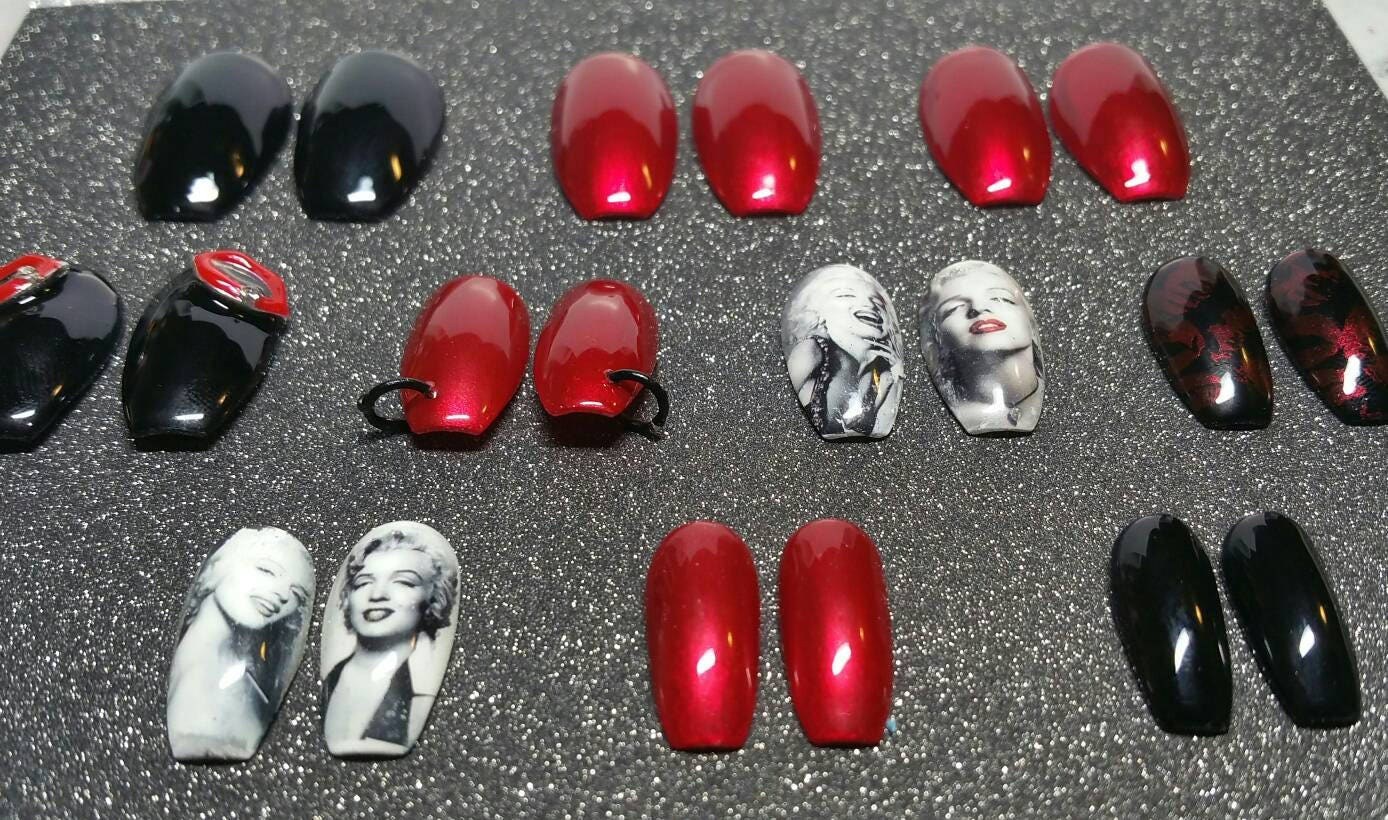 Ready to Ship | Marilyn Monroe Nails | Marilyn Monroe | Red and ...