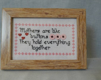 Cross stitch needlepoint mothers like buttons picture frame for mothers day birthday present