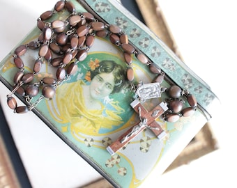 Rosary of old heavy wooden length 44 cm, chestnut brown box and metal beads, 1205