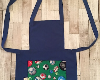 homemade childrens sport themed apron, sports fan, childrens protective wear, messy play, gifts for bakers, little chef, cotton apron.