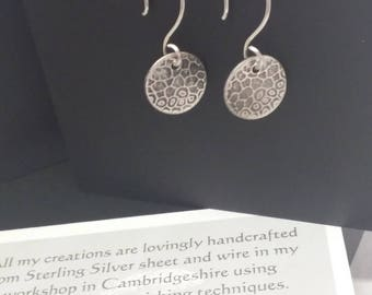 Textured Dangle Disc Earrings