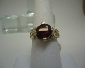 Oval Cut Ruby Ring in Sterling Silver  #951