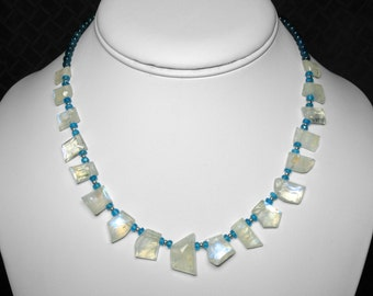 Moonstone and Blue Apatite Necklace in Silver, 16""
