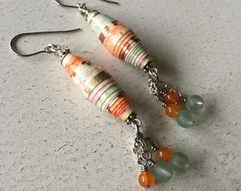 Southwestern paper bead earrings