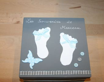 baby feet blue white and grey gift box, keepsake Butterfly sky
