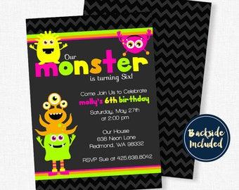 Monster Birthday Invitation, Neon Birthday Invitation, Monster Party Invitation, Monster Bash Party