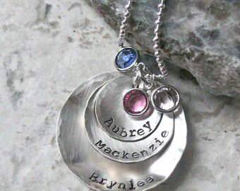 Mother's Necklace Personalized with Birthstones