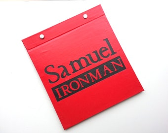 Race Bib Holder - Runner Title Type Ironman with Name Personalization - Hand-bound Book for Runners - Red and Dark Gray
