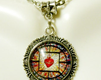 Sacred heart of Christ stained glass window necklace - AP28-024