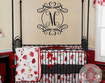 Single Initial and Heart Circle Frame Wall Decal - Monogram Wall Decal for Baby Nursery Teen or Family Name Entryway FN0442