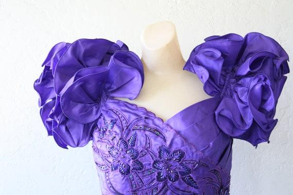 Dynasty Black Dress Velvet Deadstock Vintage Dress Dress M Prom Wiggle Cocktail Ruffle Dress Dress Dress Explosion 1980s Purple ZqFxzWwPW6