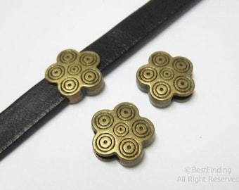 10pcs Antique bronze Flower sliders 10x2mm flat leather findings