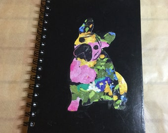 Sweet decoupage notebook with french bulldog motif