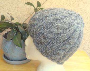 Medium Gray Handspun Cable Knit Beanie. Ready to Ship. Knit Wool Beanie Hat. Boyfriend Gift. Girlfriend Gift. Beanies for Men or Women.