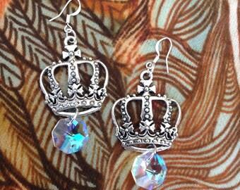 ANCIENT QUEEN, silver crown, rainbow crystal dangle gem,chandelier earrings, goddess, Stevie Nicks, divine feminine energy, self love, bliss