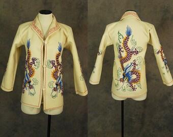 vintage 40s Dragon Embroidered Jacket - 1940s Wool Felt Souvenir Jacket Tourist Jacket Novelty Print Jacket Sz XS