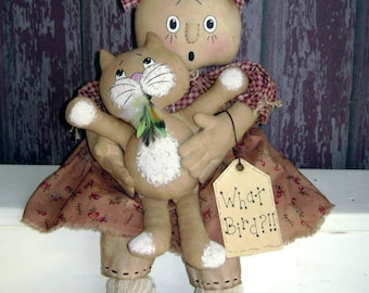 CF252 What Bird PDF E-Pattern Cloth Doll with Cat