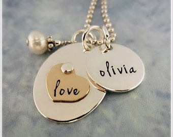 Mothers Love Necklace  - Personalized Mommy Jewelry - Kids Name Charm Necklace - Hand Stamped Sterling Silver - Gold Heart Necklace