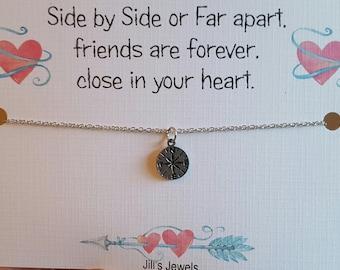 Long Distance Friendship, Going Away, Graduation Present, Best Friend Necklace, Wanderlust, Compass Necklace, Long Distance Necklace, Gift