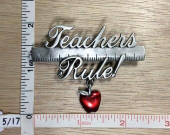 Vintage ©JJ Pewter Teachers Rule Red Apple Pin Brooch Used