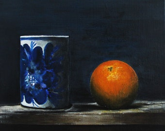 "Kitchen Still Life Original Food Painting FREE SHIPPING Tangerine and Jar 7,87""x7,87"" Acrylics on canvas"