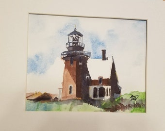 Block Island Southeast LIghthouse Original Watercolor Panting 8 x 10