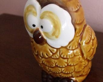 """QUON-QUON 1982 JAPAN, owl figurine/ porcelain/ 3""""H.Nice decoration.Mint condition.Home decor. Collectibles"""