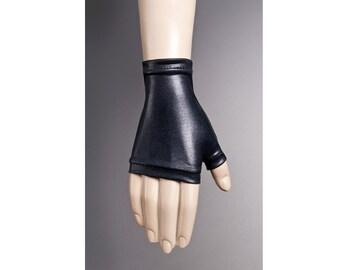 Leather Inspired Short BLACK Gloves,Fingerless Glove,Steampunk gloves women,Vegan Gloves,Black Fingerless Glove - 3 Color Options