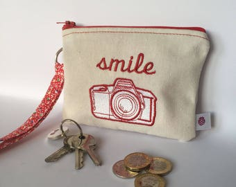 Coin Purse, Zippered, Wristlet, Camera, Smile, Red, Floral, Gift for her, Pouch