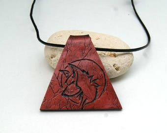 Mens necklace - men's pendant - Wolf pattern - embossed leather jewelry - polymer clay jewelry