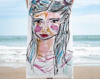 Beach towel- blue hair girl