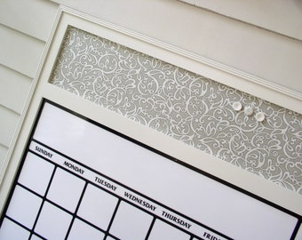 Dry Erase Calendar Organizer - Magnetic Board Family Message Center - 36 x 42 Bulletin Board with Handmade Frame and Fabric