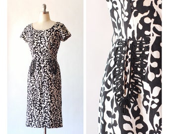 vintage 1950s black and white botanical print cotton dress / size medium